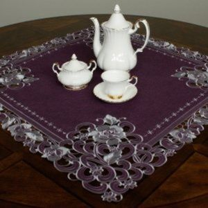 NEW Tablecloth PLUM ROSE, Linen Blend Square